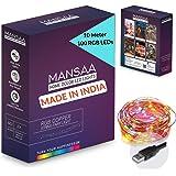 MANSAA® USB String Lights for Decoration 10M 100 LED USB Powered RGB String Light (Indoor, Outdoor, Kids Room, Diwali, Christ