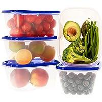 Ensemble de boîtes de Rangement Alimentaires avec couvercles Bleu - À Usage Multiple - Lot de 5 récipients x 1L…