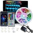 Led Strip Lights 6M, Bluetooth Super Bright RGB 24V Color Changing Led Strip Lights with 44 Keys IR Remote Controller for Bed