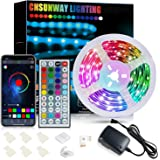 LED Strip 6M, CNSUNWAY RGB SMD 5050 Bluetooth Musik Sync LED Streifen LED Lichtband, APP Steuerung und 44 Tasten Fernbedienun