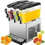 VEVOR Distributeur de Jus 3 Réservoirs 36L Professionnel Machine à Jus d'orange Machine de Boisson Electrique
