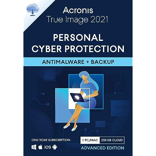 Acronis True Image 2021 – Cyber Protection personale Backup e antivirus integrati con 250 GB di storage nel cloud 1 PC/Mac Dispositivi Android/iOS illimitati 1 anno Advanced Edition - 1 User