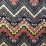 Chevron Tribal Festival Zig Zag Impreso Poliéster Luz tela de crepé vestidos–negro y blanco amarillo naranja–Se Vende por Metro