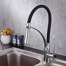 Ausziehbare 360°schwenkbare Küchenarmatur Spültischarmatur Mischbatterie Wasserhahn Waschbeckenarmatur hoher Auslauf,Schwarz
