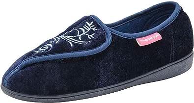 Dunlop, Bluebell, pantofole da donna, lavabili in lavatrice, con chiusura a strappo, Blu (blu navy), 36 EU