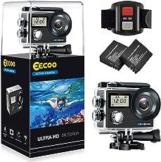 EECOO Action Cam 4K WiFi Kamera, 12MP Ultra Full HD Doppelschirm Kamera Unterwasserkamera Helmkamera Ultra-Weitwinkel 30M Wasserdicht mit Montage Zubehör Kit für Radfahren Schwimmen Klettern Tauchen