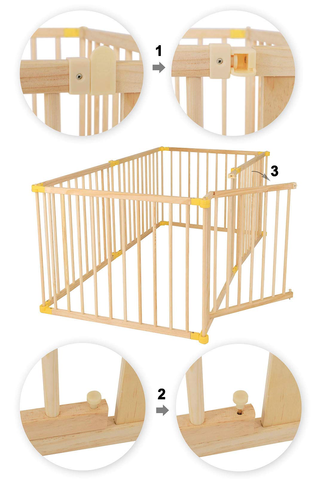 dibea DP00586 Baby Child Playpen, Wood, 270° Foldable incl. Door, 6 Panels Each 90x68cm dibea Wooden playpen with door, height 68 cm, 6 elements (including 1 door) each 90 x 68 cm (L, H). Distance between the single bars about 7, 5 cm 270 ° foldable, lockable form, flexibly usable as a playpen, protective grid, room divider or stair guard Rubber coating under the feet, so that the grid can not be moved by the baby 2