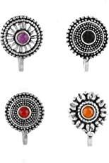 Anuradha Art Silver Oxidised Finish With Round Shape Multi Colour Combo Of Press On/Clip On Nose Pin For Women/Girls