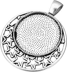 Perlin 8stk Metall Anh/änger Fassungen f/ür 25mm Cabochons Fassung Rahmen Silberfarbe Medaillons Runde Tabletts Charms Schmuckanh/änger Cabochon f/ür Ketten M460 x2
