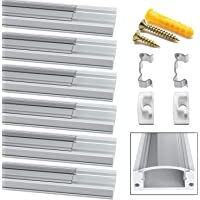 Jirvyuk Aluminum Profile Led, 6 Pack 1m/3.3ft LED Channel and Diffuser for LED Strip Lights with Transparent Cover, End Caps and Metal Mounting Clips -(Transparent)