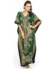 Classic Curves Women's Polyester V-Neck Kaftan Dress Beach Cover Up Night Gown Robe (CC365214, Green, Free Size)