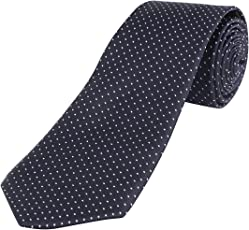 FASTECK Polka Dot Slim Formal Tie for Men - Polyester Necktie for Men - Formal Ties for Men (Buy Two GET Free SHIIPPING) Color- Navy Blue