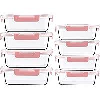 [1040 ml + 370 ml]Lot de 8 contenants de conservation des aliments en verre, résistant au lave-vaisselle, sans BPA, pour…