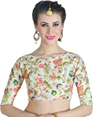 Studio Shringaar Women's Poly Silk Digital Printed Blouse with Boat Neck