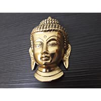 Clouds Gallery Buddha Mask Wall Hanging-Golden Colour, Elegant Handicrafts for Home Decor |