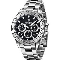 Montre à Quartz pour Hommes chronographe en Acier Inoxydable Montres pour Hommes étanches Montre-Bracelet d'affaires…