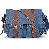 FANDARE Retro Borsa a Tracolla Tela Borse a spalla per 14 pollici Laptop Ventiquattrore Uomo Donna Messenger Bag Borsa…
