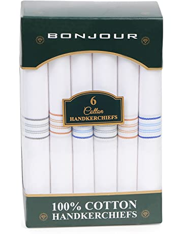 409f05373637e Bonjour Mens Formal Cotton Pack of 6 Handkerchief in White with colorful  stripes