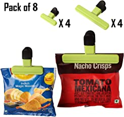 HOKIPO® Pack of 8 Bag Clips of 2 Sizes – for Quick and Easy Re-Sealing of Opened Food Bags (Random Colors)