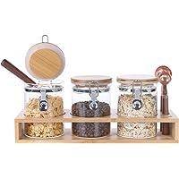 KKC Le pot de stockage en verre scellé convient au sucre, au sel, au thé, aux grains de café, aux pâtes, aux fruits secs…