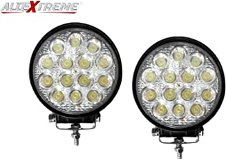AllExtreme EX14RW2 14 LED Round Fog Light 4 Inches Waterproof Driving Spot Lamp with Mounting Bracket for Car, Motorcycle and Outdoor Applications (42W, White Light, 2 PCS)