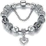 Handmade Charm Bracelet - Enameled Silver Plated Floral & Crystal Beads - Heart Pendant - Elegant & Chic Bracelet for Women -