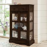 Angel Furniture Solid Sheesham Kitchen Medium Storage Crockery Cabinet in Walnut Finish, Semi Gloss, 75x35x120CM