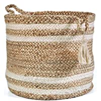 Quality Home Jute Planter Pots/Storage Basket with Handle, Multi-Purpose use for Bathroom Living Room- (Natural Jute…