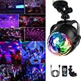Yizhet Lampe de Scène, Boule Disco de Commande Vocale RGB Couleur Lumière Fête Commande Sonore Mini Projecteur Boule Cristal