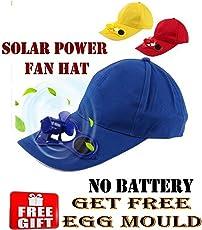 VOLTAC A/REV3555-3582 Solar Power Fan Cap with Egg Mould (Multicolour)