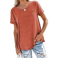 Aleumdr Maglietta Donna Manica Corta Casual T-Shirt Donna Collo Rotondo Sciolto Tinta Unita
