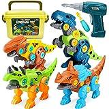 Dreamon Dinosaurios Juguetes para Niños con Caja de Almacenamiento Taladro Eléctrico, Construccion Juguete Dducativos Regalos