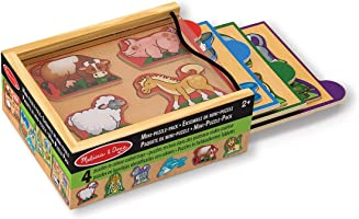 Melissa & Doug Animals Wooden Mini-Puzzle Set With Storage and Travel Case