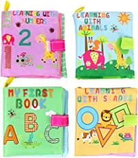 NUOLUX 4pcs Cloth Book Soft Book Toys Plush Toys Educational Toys Gift for Baby