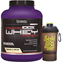 Ultimate Nutrition Prostar Cookies and Cream Whey Protein Isolate Powder, 5 lbs with Free Nutradict Shaker