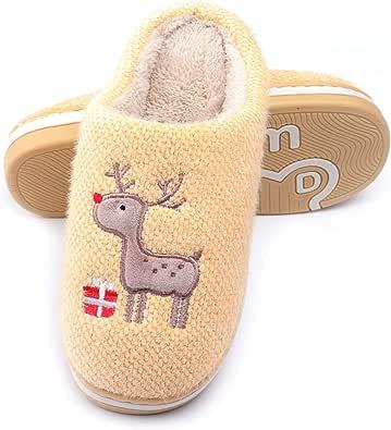 WINZYU Pantofole Donna Uomo Invernali Peluche Morbido Caldo Antiscivolo Renna Regalo Scarpe da Casa