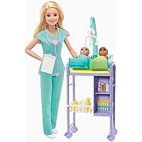 Barbie Carriere Playset Pediatra Bambola, 2 Neonati e Accessori, Giocattolo per Bambini 3+ Anni, GJM72