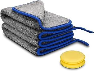 AUTSCA Microfasertücher, Premium Dicke Poliertuch, Trockentücher für professionellen Autopflege und Hauspflege,2 in 1,40 * 60cm, 1200GSM