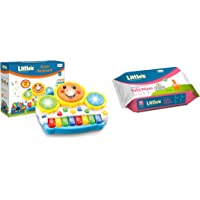 Little's Drum Keyboard Musical Toy + Little's Soft Cleansing Baby Wipes (80 Wipes)