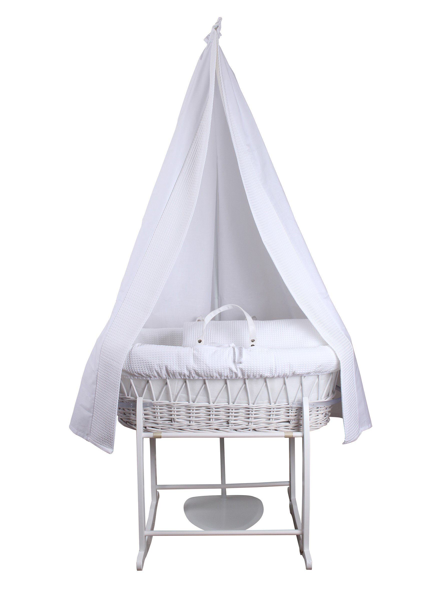 6-Piece Waffle Moses Basket Starter Set (White)  Made from 100% super soft Waffle cotton fabric Lightweight cotton drape edged with soft Waffle cotton to match the dressing, with freestanding rod to place next to the Moses basket Comes complete with matching stand, padded liner, delicately embroidered 2.0 tog, reversible coverlet and mattress. 1