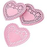 12 Papierdeckchen 10 cm rotes Herz Doilies Liebe Valentinstag Spitzenpapier rot