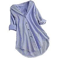 JURTEE Maniche Lunghe Donna Camicetta Taglie Forti Bottoni Blusa a Righe Allentata T-Shirt Camicette Donna Eleganti…