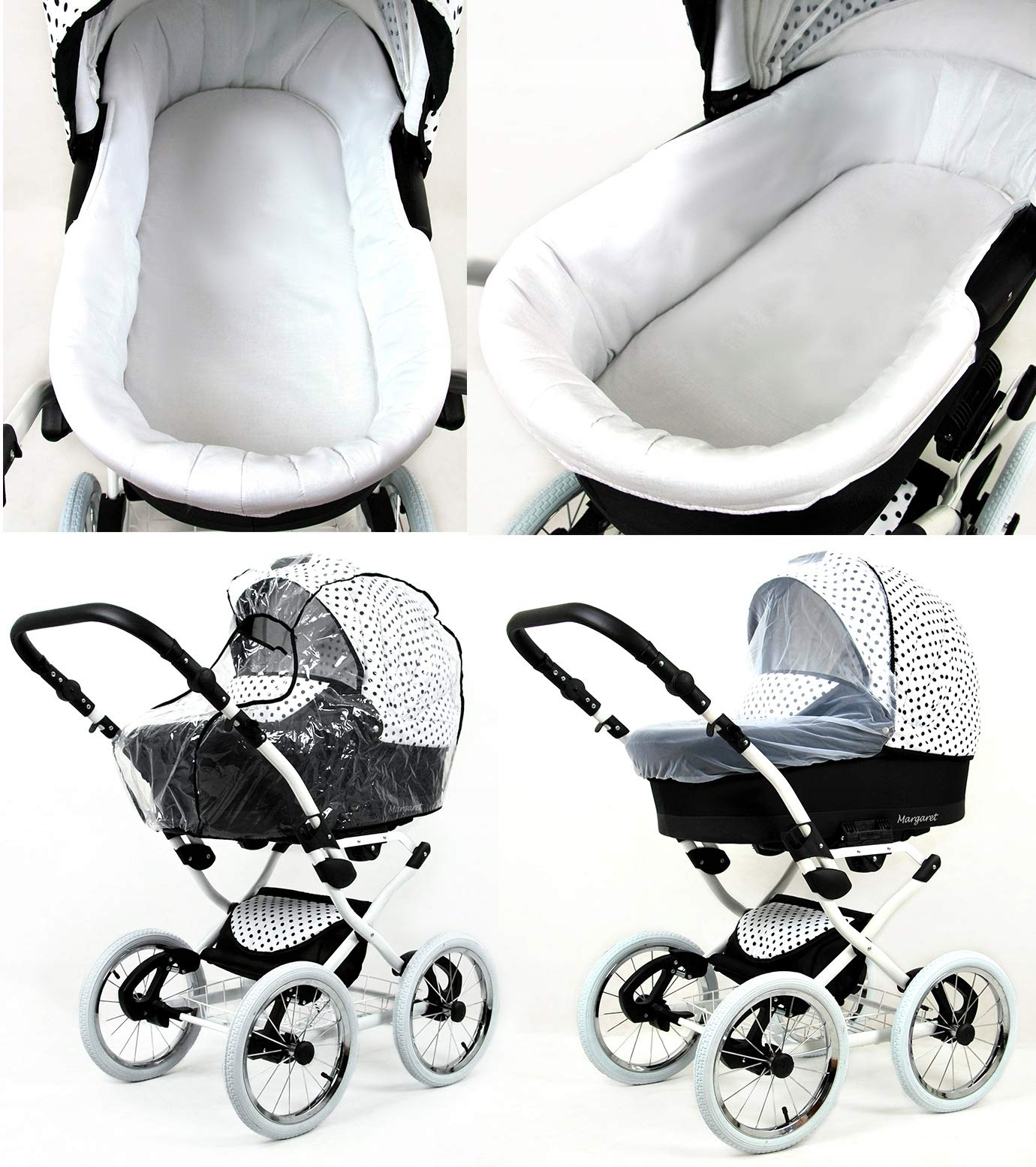 Travel System Retro Stroller Pram 2in1 3in1 Set Isofix Nostalgica by SaintBaby Navy Blue Star 2in1 Without Baby seat SaintBaby 3in1 or 2in1 Selectable. At 3in1 you will also receive the car seat (baby seat). Of course you get the baby tub (classic pram) as well as the buggy attachment (sports seat) no matter if 2in1 or 3in1. The car naturally complies with the EU safety standard EN1888. During production and before shipment, each wagon is carefully inspected so that you can be sure you have one of the best wagons. Saintbaby stands for all-in-one carefree packages, so you will also receive a diaper bag in the same colour as the car as well as rain and insect protection free of charge. With all the colours of this pram you will find the pram of your dreams. 6