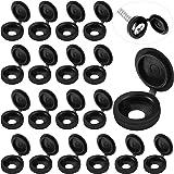 100 stuks klapschroefdoppen kunststof schroefdoppen vouwschroef klikdeksel sluitring flip bovendeel (zwart, M)