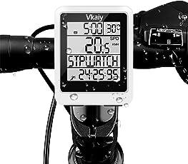 Vkaiy Computer da Bicicletta, Contachilometri Bici Senza Fili, Impermeabile bici computer per Tachimetro Bici Wireless Ciclocomputer con Display Retroilluminato, la Distanza di Tracciamento, Velocità
