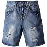Xinvivion Men's Jeans Shorts Ripped Washed Jeans Summer Regular Fit Denim Short Pants Plus Size Breathable Trousers