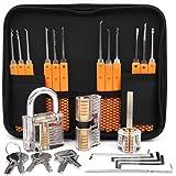 Loboo Idea 17-delige Lock Pick Trainingsset met 3 transparante trainingssloten voor beginners en professionals slotenmaker (A