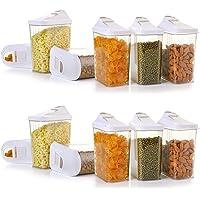 Machak Easy Flow Plastic Kitchen Storage Jars & Container Set, Transparent (12, 1100)