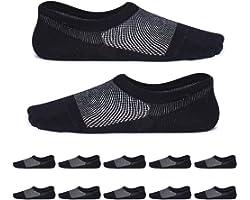 YouShow Uomo Donna calzini corti con cotone 10 Paia invisibili calze antiscivolo