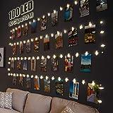 Litogo Clip Cadena de Luces LED, 10m 100 Led Colgar Fotos de Luces 60 Pinzas Para Fotos Fotoclips Guirnalda de Luces Pinzas c